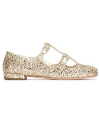 Miu Miu Glitter Buckle Ballerina Flats - Metallic