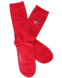 Maison Kitsuné Tricolour Fox Socks - Red