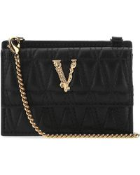Versace Virtus Quilted Chainstrap Cardholder - Black