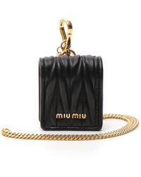 Miu Miu Matelassé Airpods Case - Black