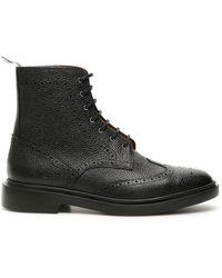 Thom Browne Brogues Combat Boots - Black