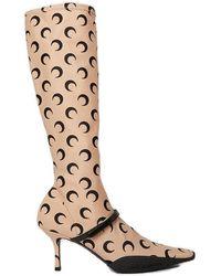 Marine Serre Moon Print Second Skin Boots - Natural