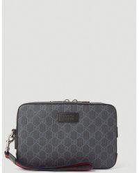 Gucci GG Supreme Clutch Bag - Black