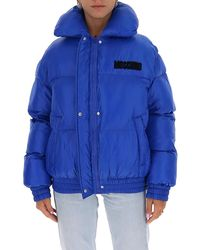 Moschino Teddy Embroidered Puffer Jacket - Blue