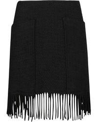 Pinko Fringed High Waisted Mini Skirt - Black