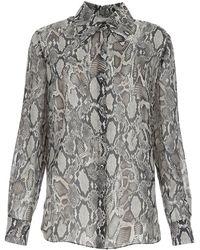 Magda Butrym Printed Silk Shirt Animalprint 38f - Grey