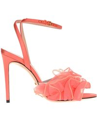 Gucci Ruffled Bow Detail Sandals - Pink