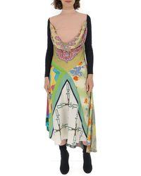 Marine Serre Contrasting Paneled Cowl Dress - Multicolor