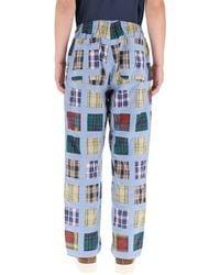 Stussy Patchwork Madras Pants S Cotton - Blue