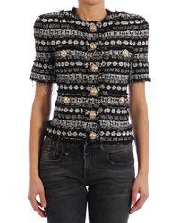 Balmain Short Sleeve Sequin Jacket - Black