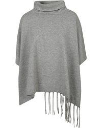 Fabiana Filippi Fringed Knit Poncho - Grey