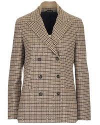 Brunello Cucinelli Sequins Embellished Checked Blazer - Multicolour