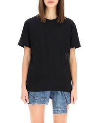 T By Alexander Wang Jersey Logo T-shirt - Black