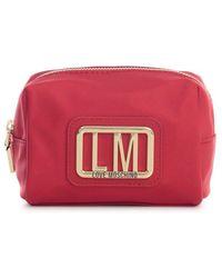 Love Moschino Logo Plaque Zipped Make-up Bag - Red