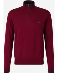Etro Zipped Neck Jumper - Red