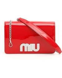 Miu Miu Logo Crossbody Bag - Red