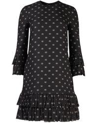 Valentino Vlogo Print Frill Tiered Dress - Black