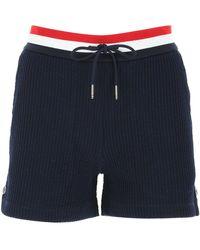 Thom Browne Seersucker Tricolour Striped Waistband Shorts - Blue