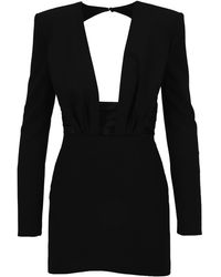 Saint Laurent Structured V-neck Open Back Mini Dress - Black