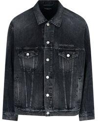 Balenciaga Drip Peace Denim Jacket - Black