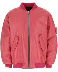 Prada Salmon Leather Padded Bomber Jacket Uomo M - Pink