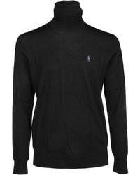 Polo Ralph Lauren Logo Embroidered Roll-neck Jumper - Black