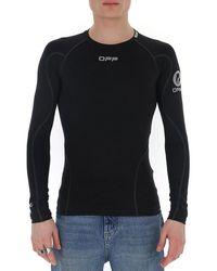 Off-White c/o Virgil Abloh Logo Long Sleeve Fitted T-shirt - Black