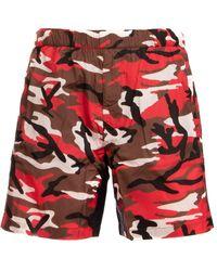 Prada Camouflage Print Swim Shorts - Red