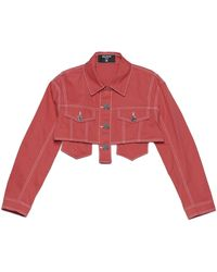 Balmain Crop Denim Jacket - Red