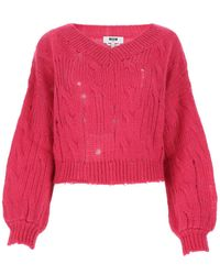 MSGM Distressed V-neck Sweater - Pink