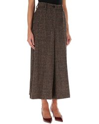 Dolce & Gabbana Tailored Houndstooth Culottes - Brown