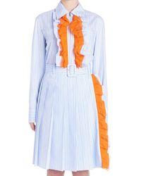 Prada Contrast Ruffle Shirt Dress - Blue