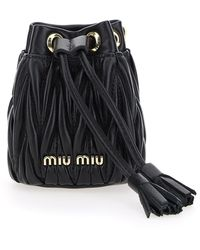 Miu Miu Mini Drawstring Bucket Bag - Black