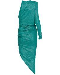 Alexandre Vauthier Metallic One-shoulder Asymmetric Dress - Green