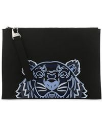 KENZO Kampus Tiger Embroidered Pouch - Black
