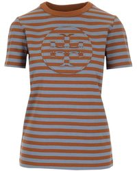 Tory Burch Striped Logo T-shirt - Multicolour