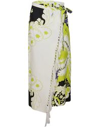 Valentino Floral Printed Fringed Sarong Skirt - Multicolor