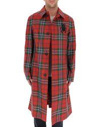 Alexander McQueen Tartan Motif Trench Coat - Red
