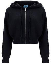 Prada Hooded Cropped Cardigan - Black