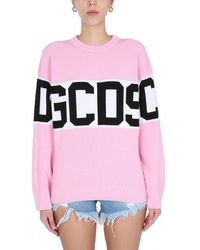 Gcds Crew Neck Knit Jumper With Logo - Pink