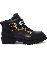 Moschino Lace-up Combat Boots - Black