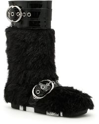 Miu Miu - Buckled Faux Fur Boots - Lyst