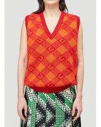 Gucci Check Jacquard V-neck Knitted Vest - Red