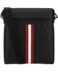 Bally Black Leather Crossbody Bag Nd Uomo