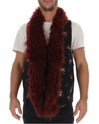 Ann Demeulemeester Floral Fur Trim Vest - Multicolor
