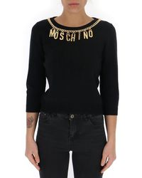 Moschino Logo Charms Knitted Sweater - Black