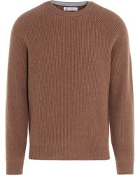 Brunello Cucinelli Ribbed Jumper - Brown