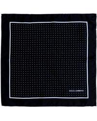 Dolce & Gabbana Logo Printed Polka Dot Pocket Square - Black