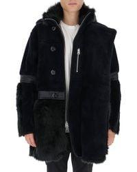 Sacai Faux Fur Hooded Coat - Blue