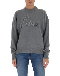 Loewe Embroidered Logo Knitted Sweater - Gray